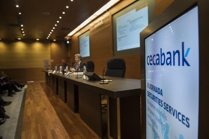 El Jefe de la División de Servicios de Pago a EECC del Banco de España, Fernando Castaño, en la II Jornada de Securities Services de Cecabank